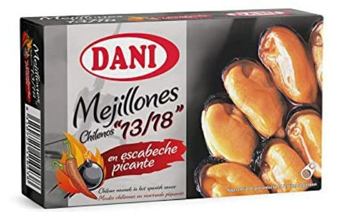 Dani - Mejillones 13/18 en escabeche picante - Pack 6 x 106 gr.
