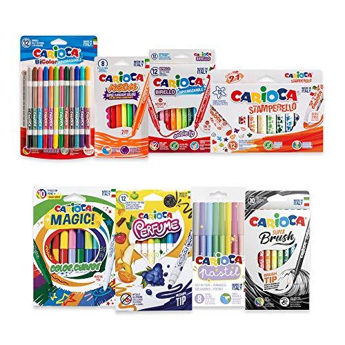 Carioca Set Rotuladores Locos | Kit Rotuladores de Colores Divertidos para Lettering, con Sellos Pastel, Mágicos, 74 Unidades
