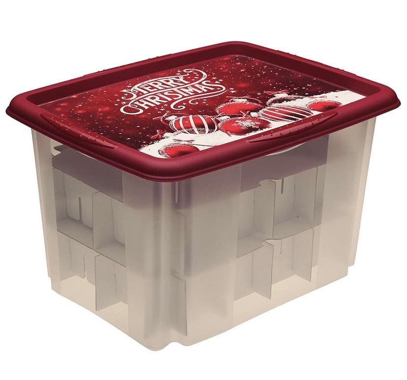 keeeper Caja de Almacenaje con Diseño Navideño y Tapa, 44,5 x 35 x 27 cm, 30 l,