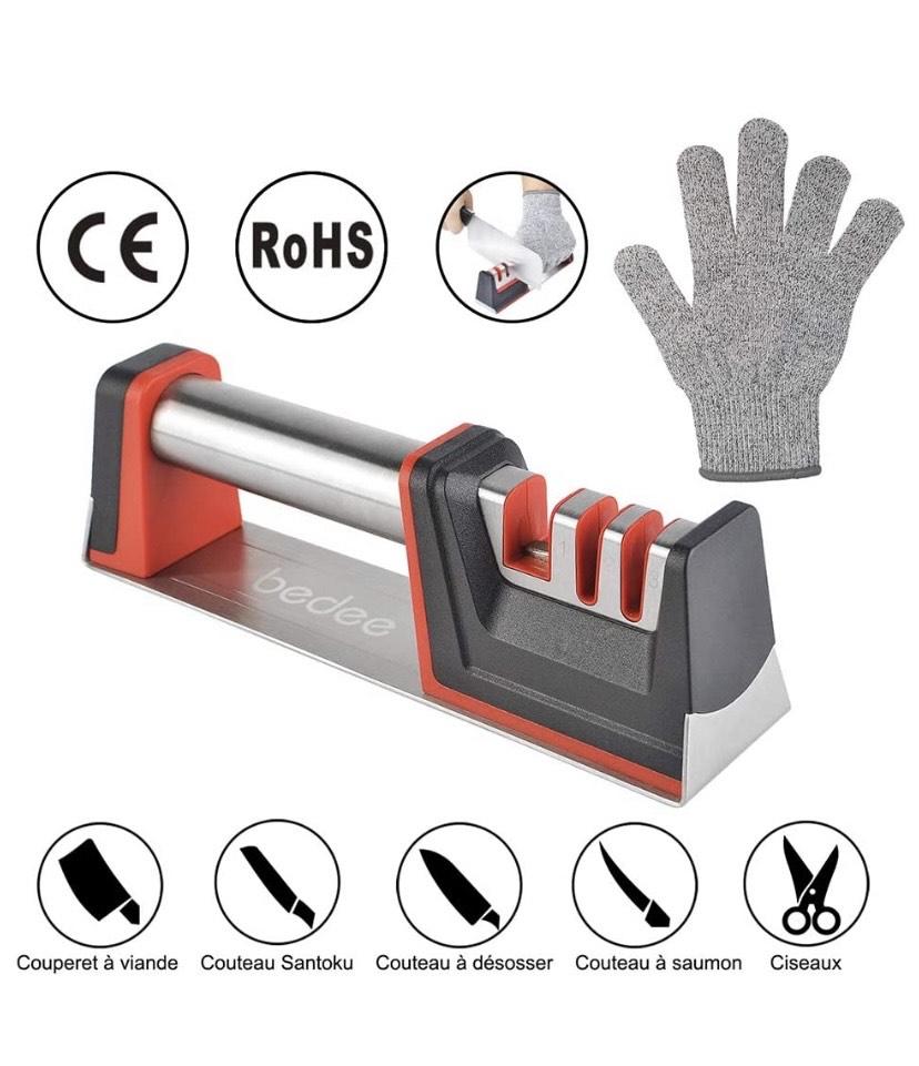 Bedee - Afilador de cuchillos, 3 pasos (diamante, cerámica, tungsteno) con base antideslizante, repara fácil