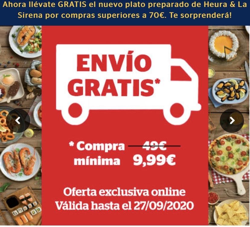 Envío gratis por compra mínima de 9 euros en la Sirena