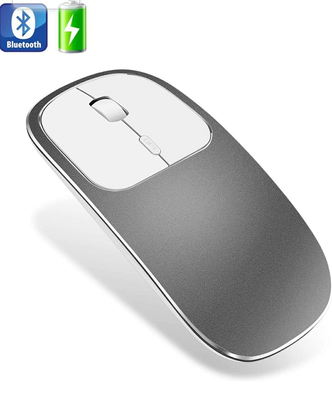 Ratón Bluetooth, ultradelgado de metal sin ruido, inalámbrico, recargable, compatible con portátiles