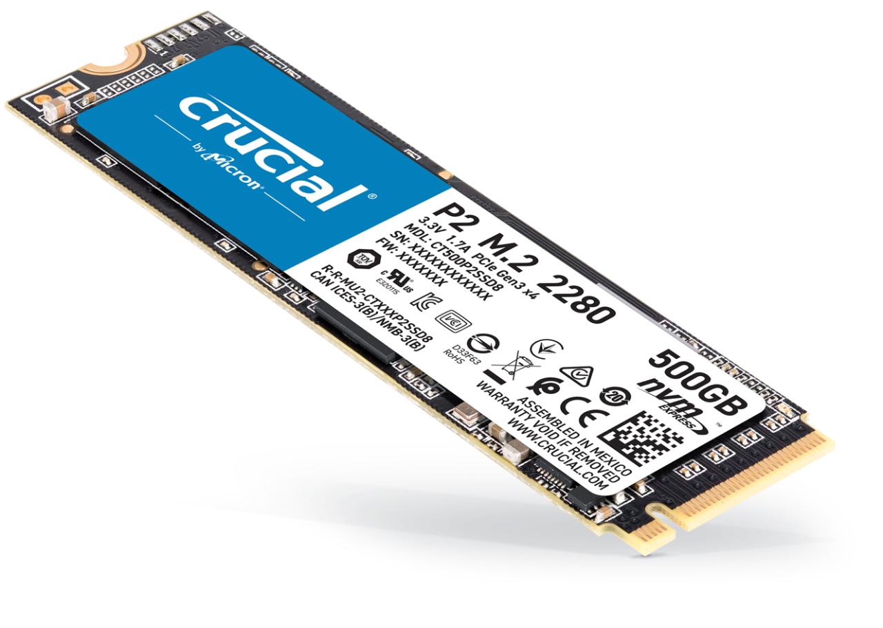 SSD NVMe de 500 GB Crucial P2 (Memoria 3D TLC)