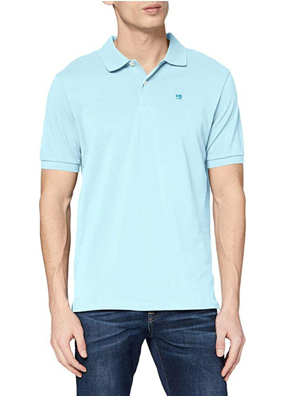 TALLA M - Scotch & Soda Classic Cotton Pique Polo Hombre. Color azul (Surf Mist 3489)