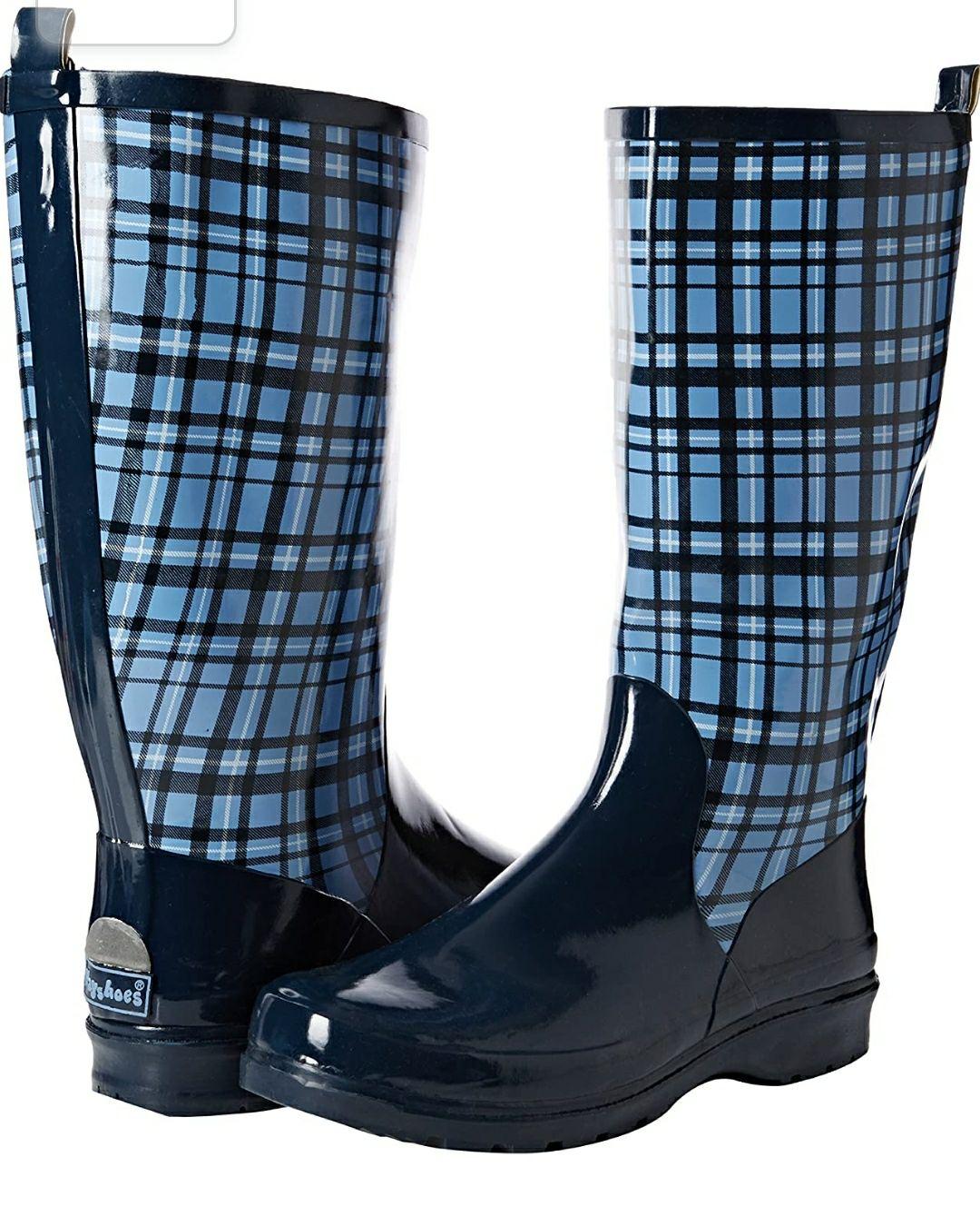 TALLA 42 - Playshoes Bota de Goma de Caucho Natura, Botas de Agua para Mujer. Color azul
