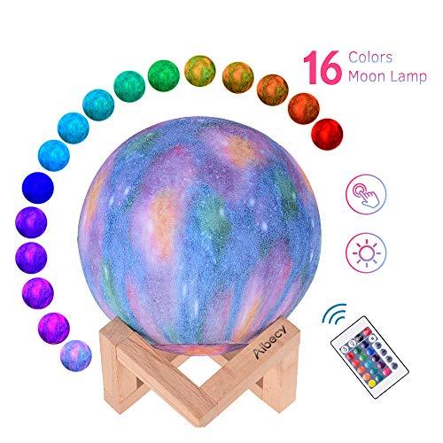 Lámpara lunar con soporte Cable USB 16 colores brillantes Control remoto