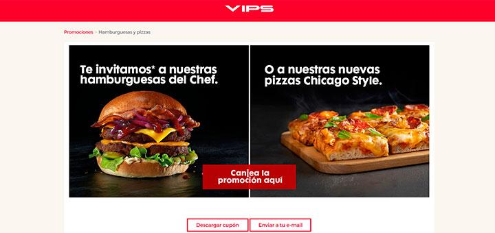 HAMBURGUESA O PIZZAS CHICAGO STYLE GRATIS AL COMER EN VIPS