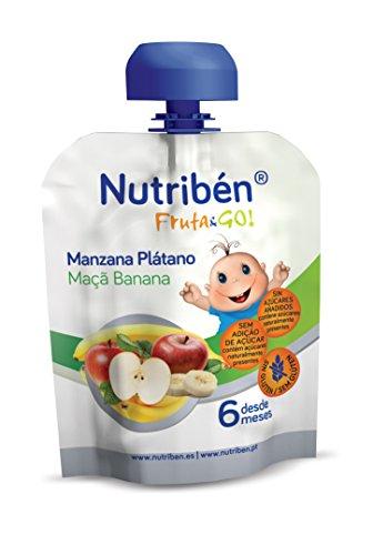 10 Unidades de 90 gr. de Nutribén -Fruta And Go ! Fruta 100% natural, Manzana Plátano,