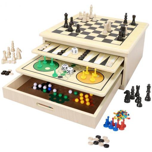 10 juegos de mesa reunidos (Conjunto de madera) [+ cupón 40%]
