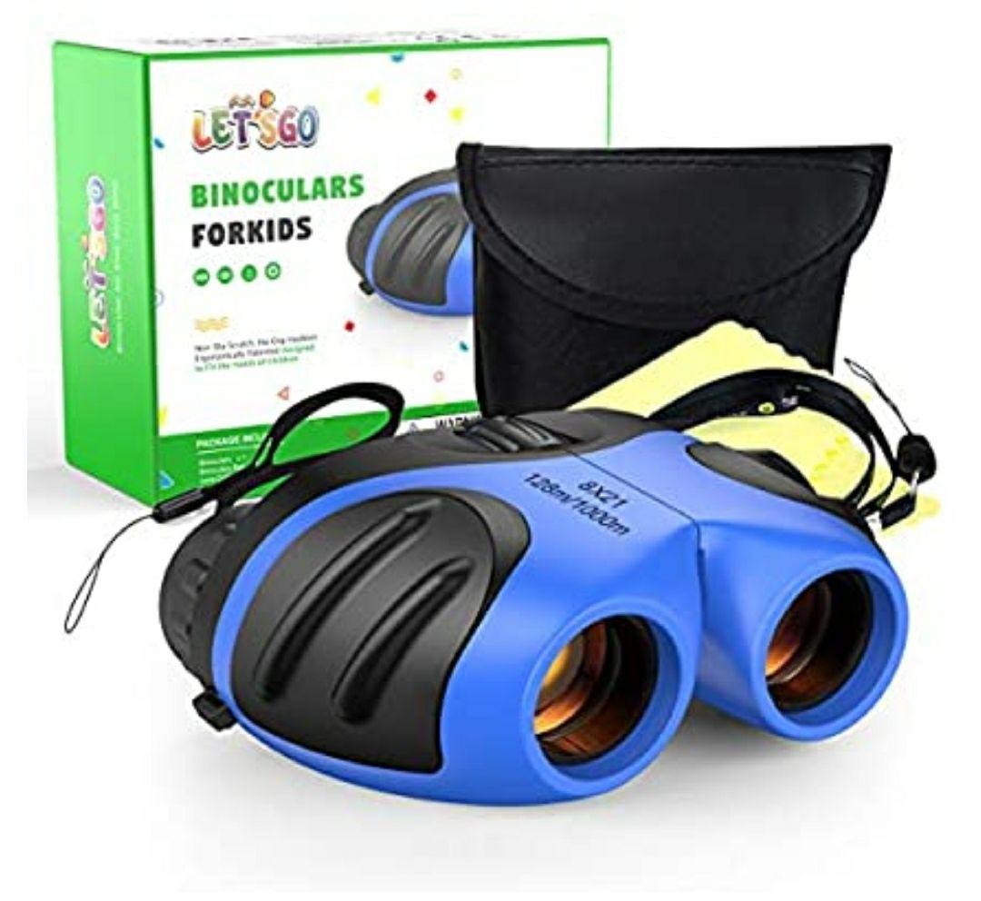 DMbaby Binoculares para Niños - Regalos Cumpleaños & Aire Libre Juguetes - [Impermeable - 8x21]. Color azul