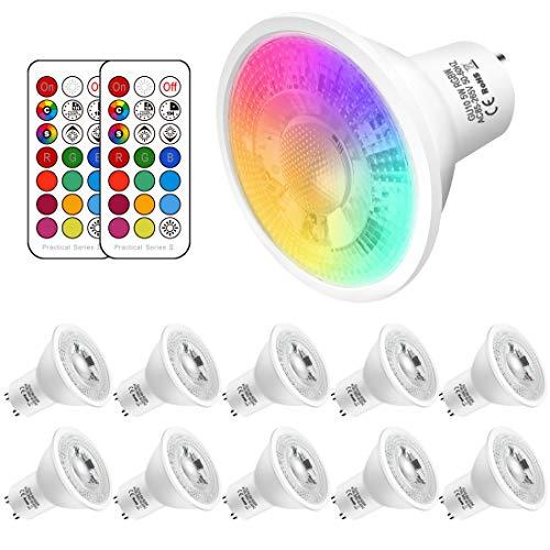 10 unidades, bombillas 5W Gu10 Rgbw Led Colores Cambiantes, Control remoto Incluido