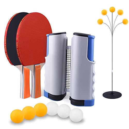 Set de Ping Pong, 2 palas, 6 pelotas, 1 soporte/entrenador, 1 red retráctil para mesa