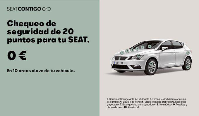 Chequeo de 20 puntos gratuito SEAT + Regalo luz de Seguridad Help Flash
