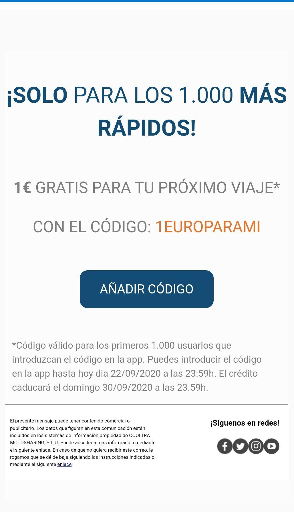 1 euro gratis ecooltra para los 1000 primeros