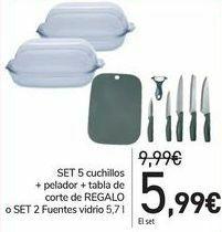 Set de 5 cuchillos + pelado r+ tabla de corte o 2 fuentes (Carrefour tienda física)
