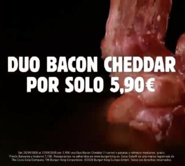 Menú mediano Dúo Bacon Cheddar por solo 5,90€