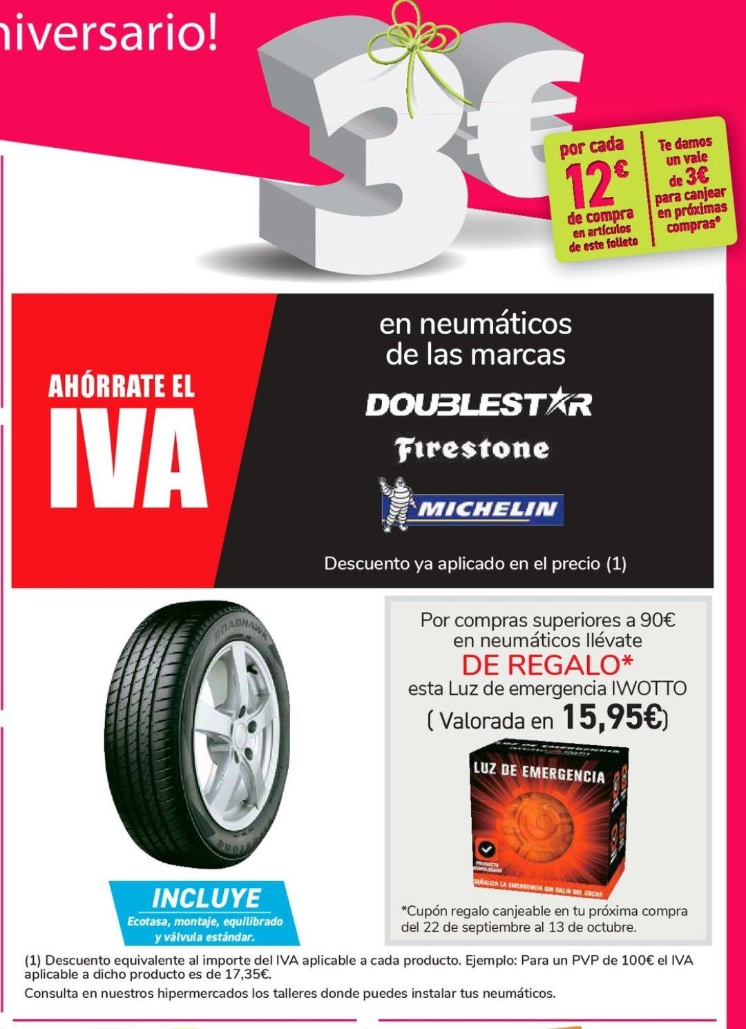 Neumáticos Sin IVA + cupón 3€ en 12€ + regalo + montaje gratuito