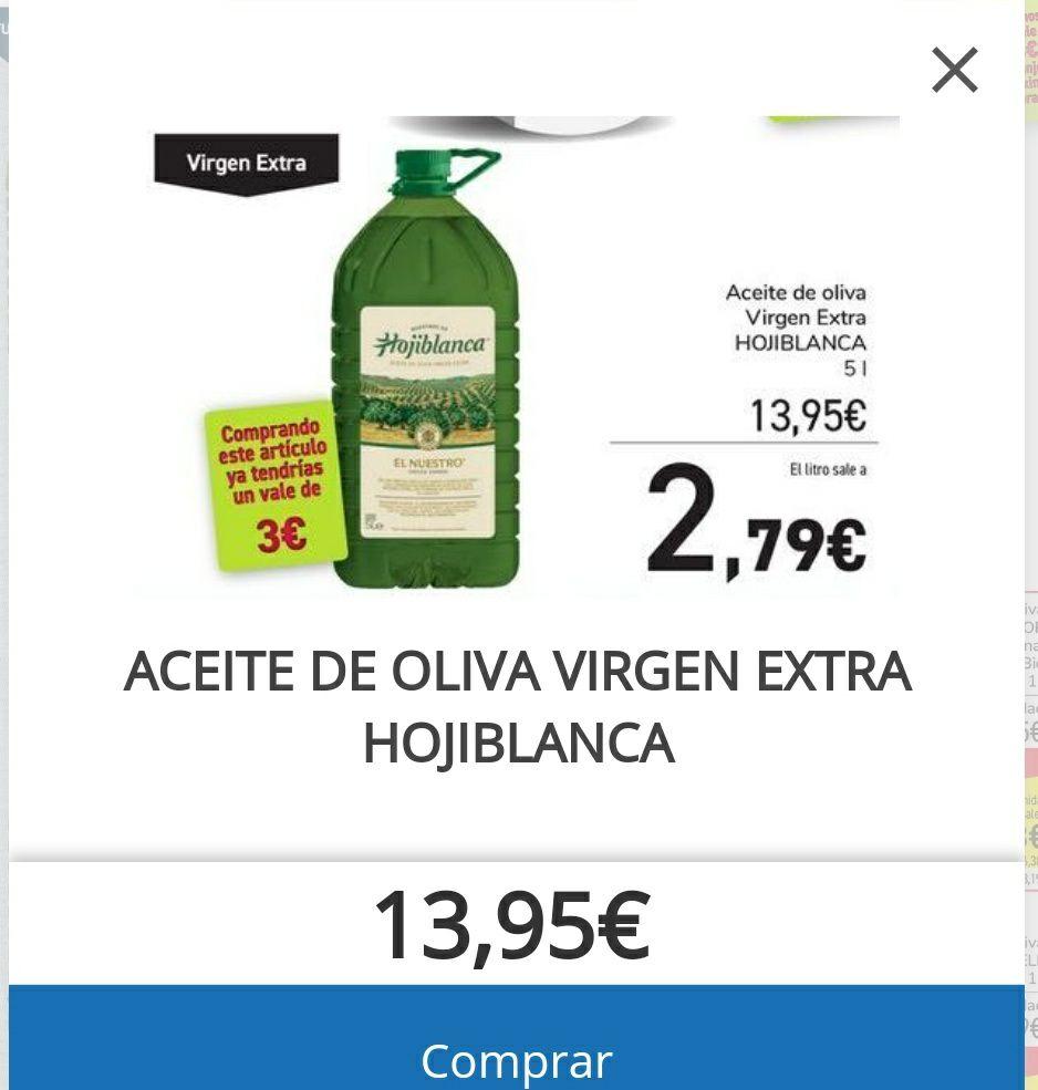 GARRAFA DE 5L ACEITE DE OLIVA VIRGEN EXTRA Hojiblanca (leer descripción)