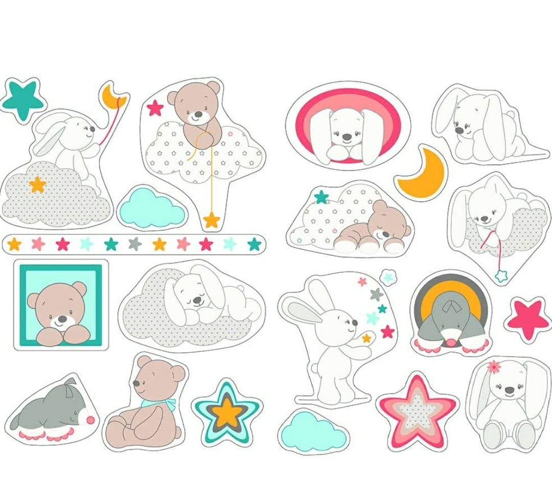 Nattou Pegatinas de pared para la habitación de los niños, 2 Hojas, Mia y Basile, 50 x 70 cm,