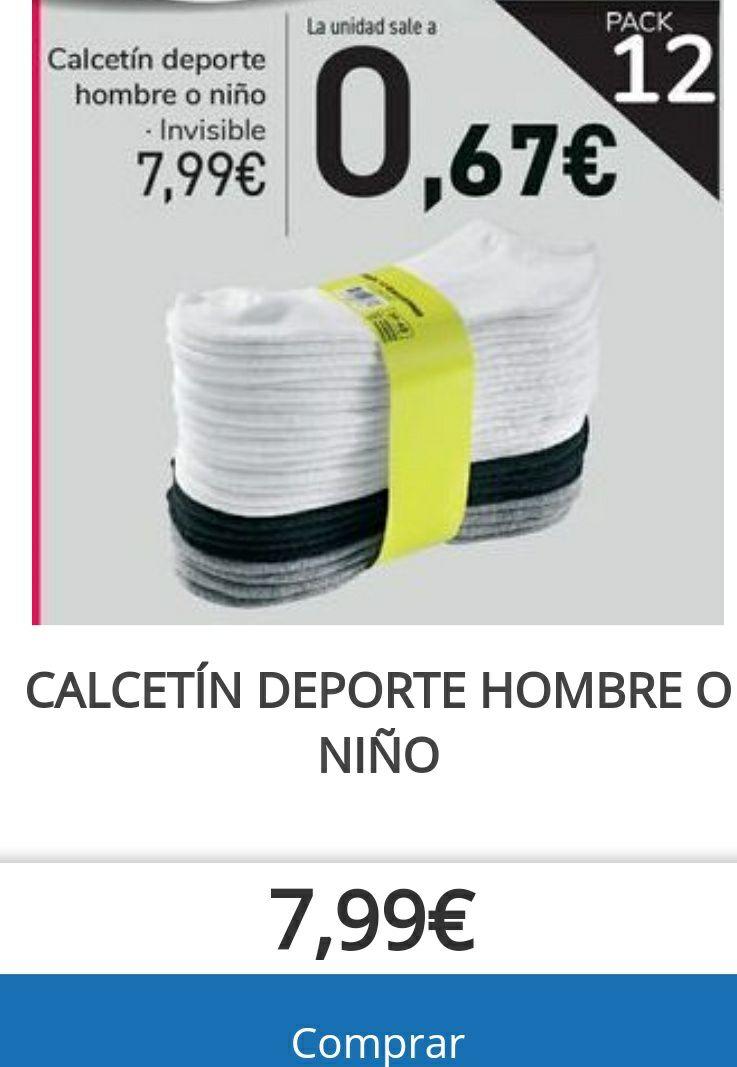 Pack de doce pares calcetines invisibles O 2 packs por 12,99€, varios colores y tallas.