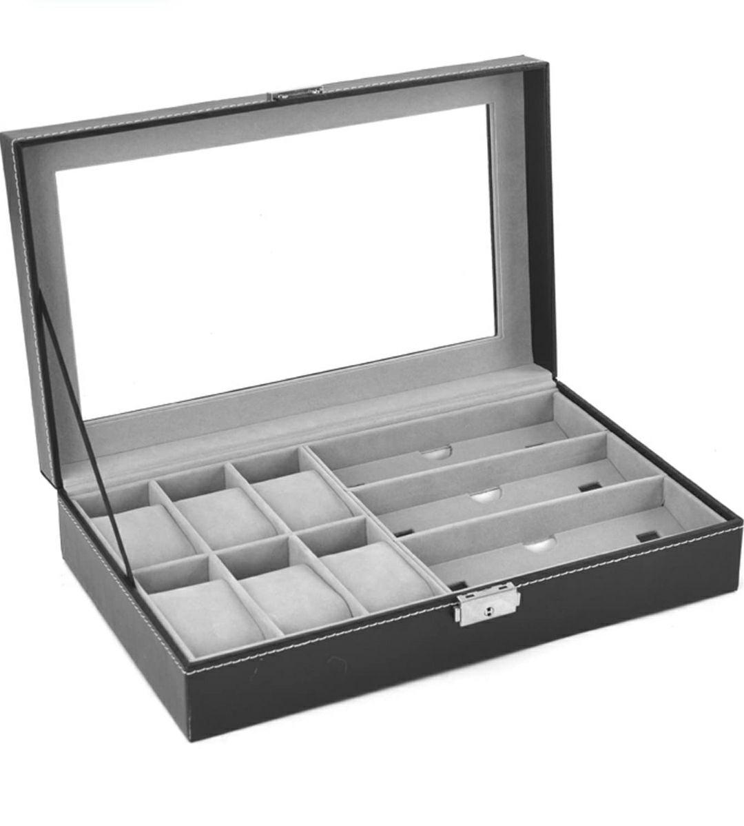 AUTOARK - Caja para 6 relojes, caja de joyería y 3 piezas de almacenamiento de lentes y gafas de sol. Color negro