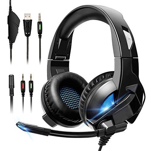 Auriculares Gaming, Cascos Gaming PS4 con Micrófono Gamer Cancelación de Ruido Sonido Envolvente para PC Xbox One PS3 Xbox 360 Nintendo