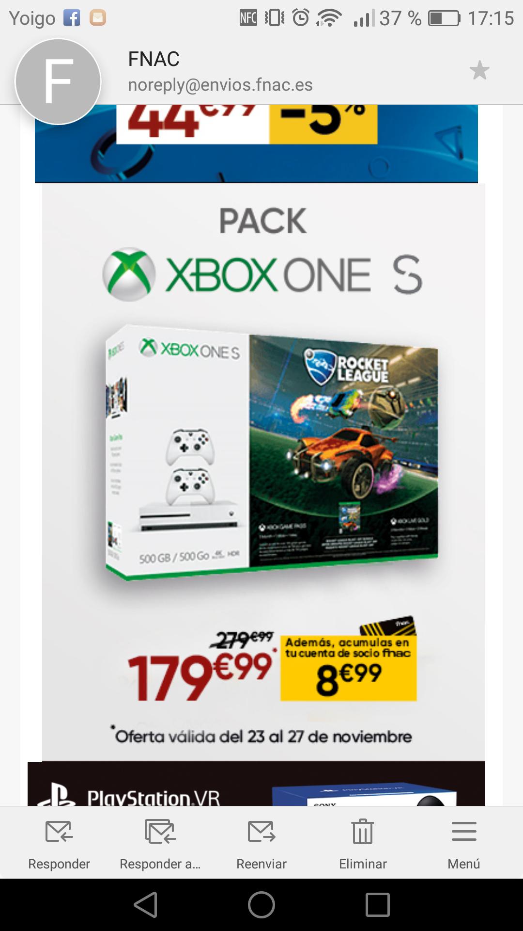 Xbox One S 179.99€ (PVP 279.99€)