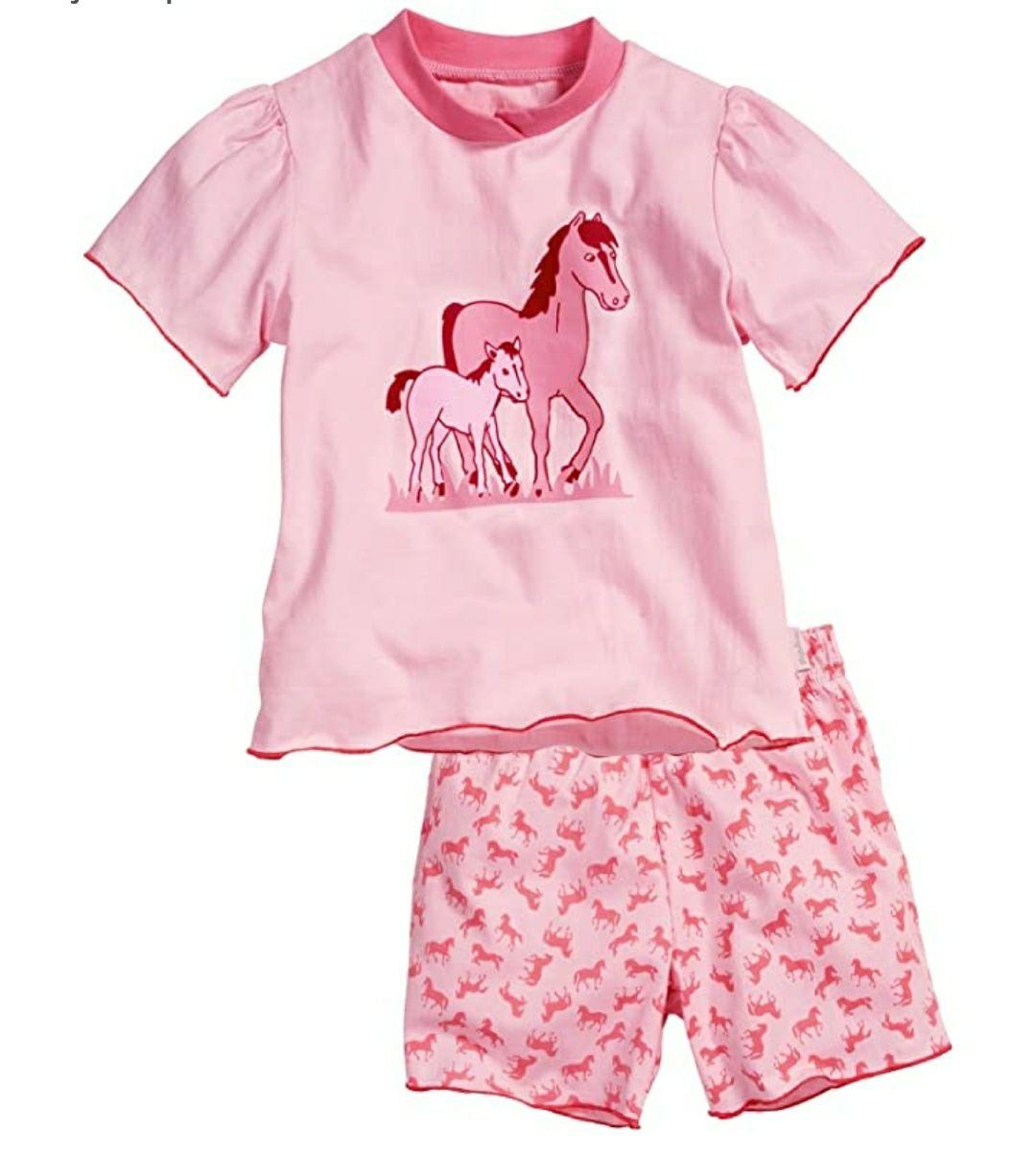 TALLA 12 MESES - Playshoes Schlafanzug Shorty Single-Jersey Pferde Pijama para Niños