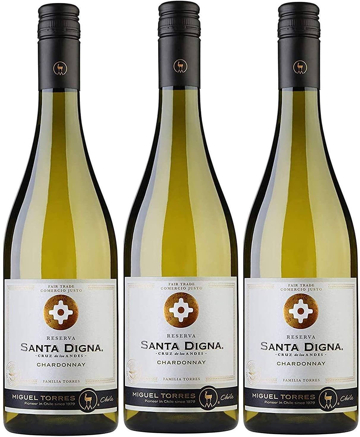 Santa Digna Chardonnay, Vino Blanco - 3 botellas de 75 cl, Total: 22500 ml