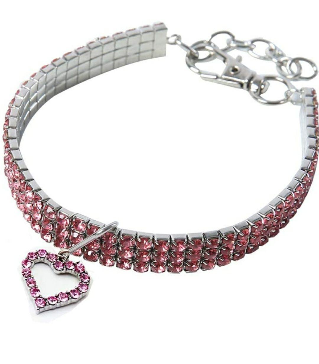 TALLA L (30cm) - Collar para Mascota con diseño de Oso BT, con Cristales Brillantes, elástico, Collar para Gatos y Perros