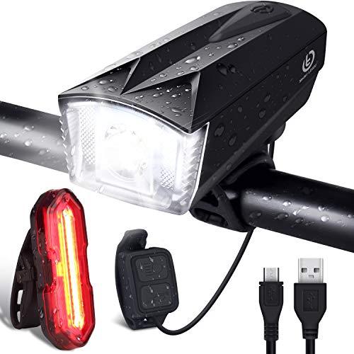 OMERIL - Luces Bicicleta Delantera y Trasera Bocina y Control Remoto