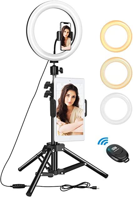 "Anillo de Luz Trípode LED 10.2"", Aro de Luz con Trípode Soporte 1.34 m para Tableta/Móvil con Control Remoto Bluetooth"