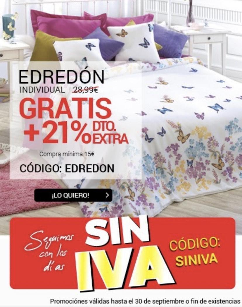 Dias SIN IVA en toda la web +EDREDON GRATIS