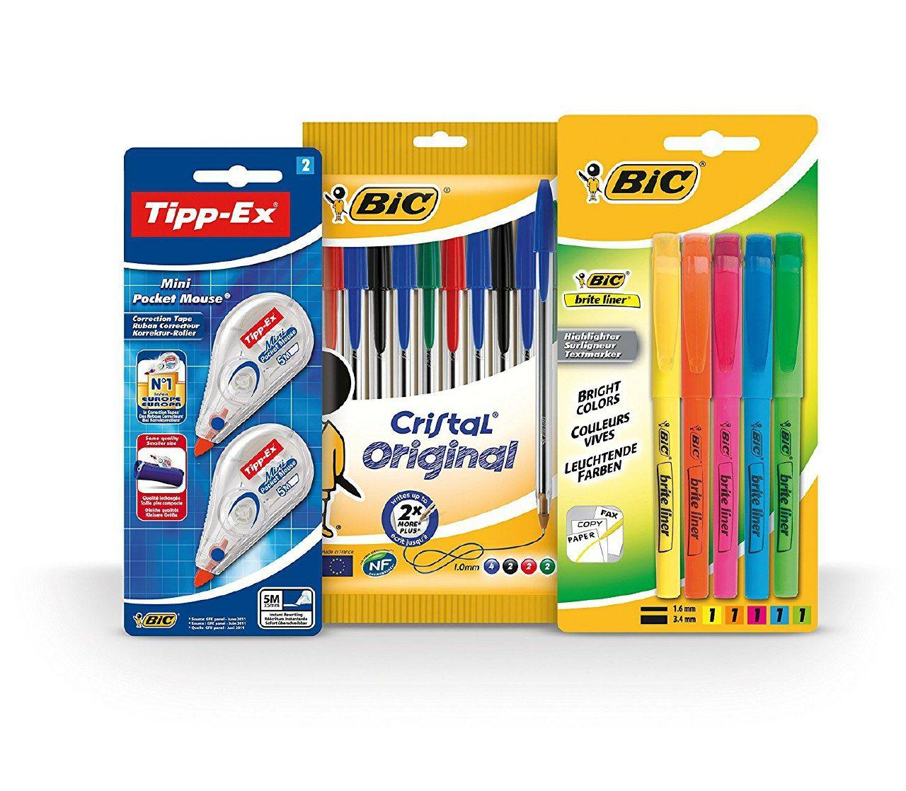 Pack 10 bolis BIC + 2 tippex de ratón + 5 subrayadores a 5.59