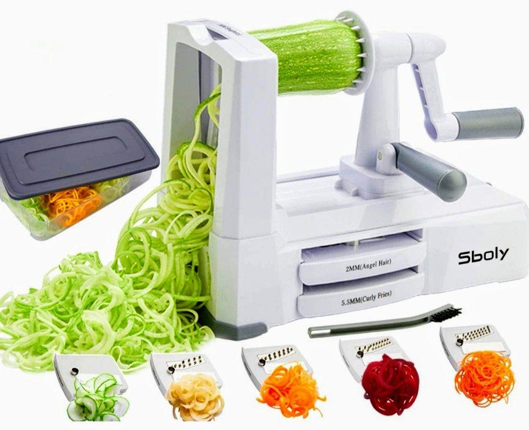 Espiralizador de verduras con 5 cuchillas de acero inoxidable (Precio Mínimo)