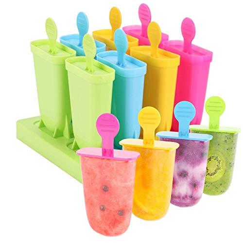 Joyoldelf 8 paquetes de moldes para paletas de helado, reutilizables, de grado alimenticio, sin BPA
