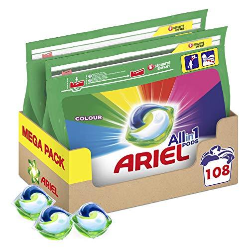 108 Lavados. Ariel Allin1 Pods Color - Detergente en cápsulas para la lavadora, óptimo para mantener el color y brillo de tus prendas,