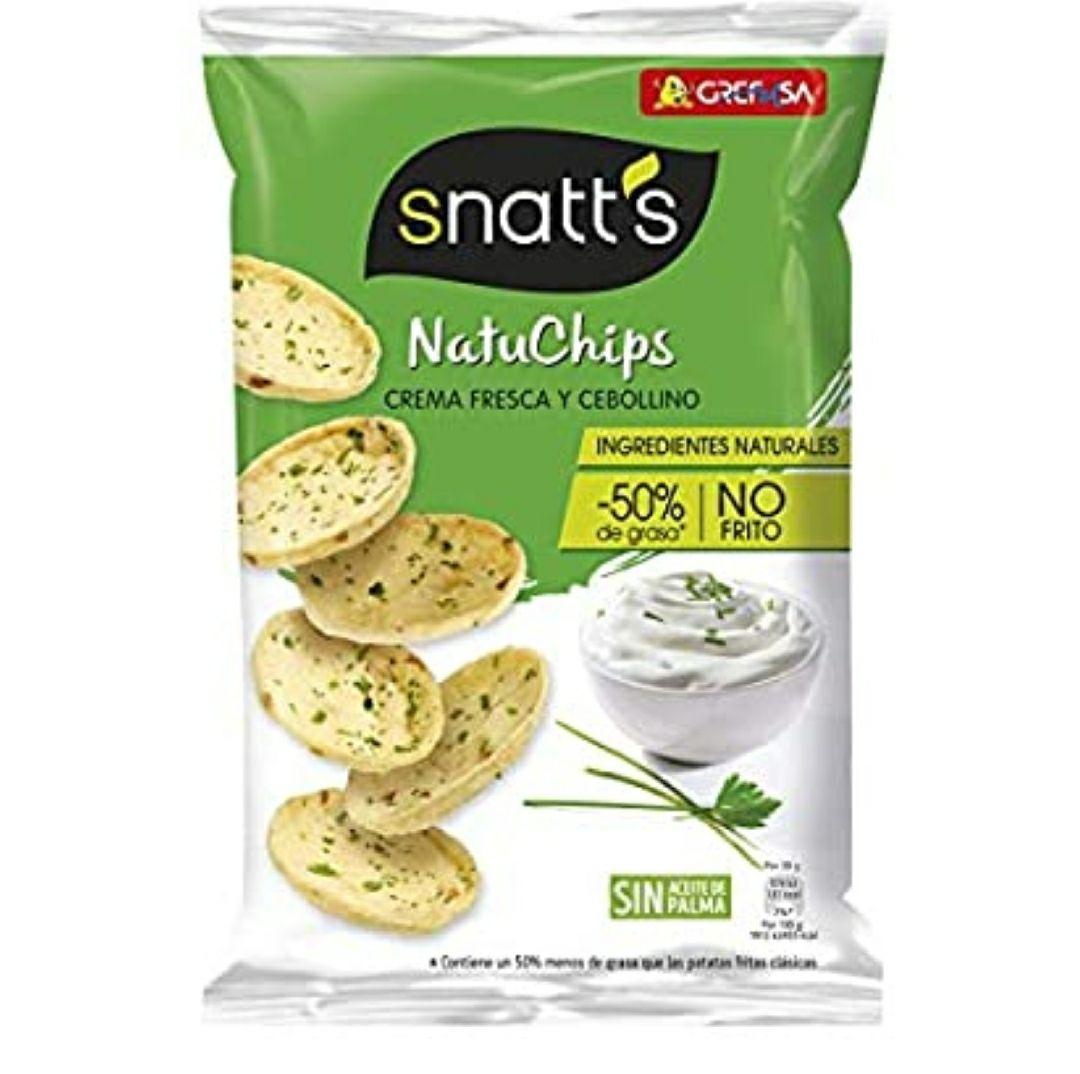 Grefusa - Snatt's | NatuChips Crema Fresca y Cebollino - 85 gr