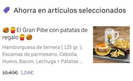 En Barcelona. Hamburguesa + patatas + bebida