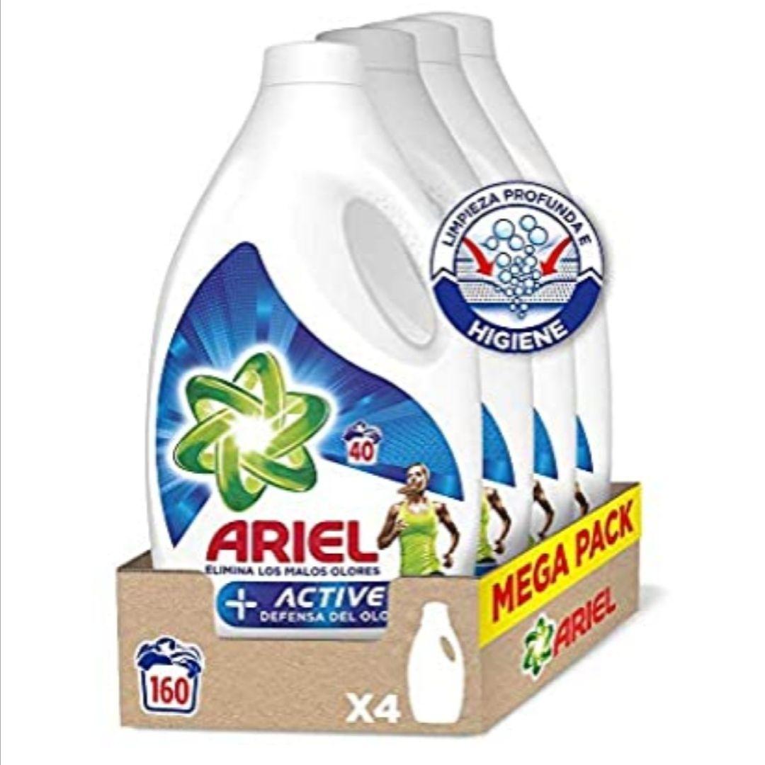 Ariel Active - Detergente líquido para la lavadora, adecuado para eliminar los malos olores, 160 lavados (4 x 40) (compra recurrente)