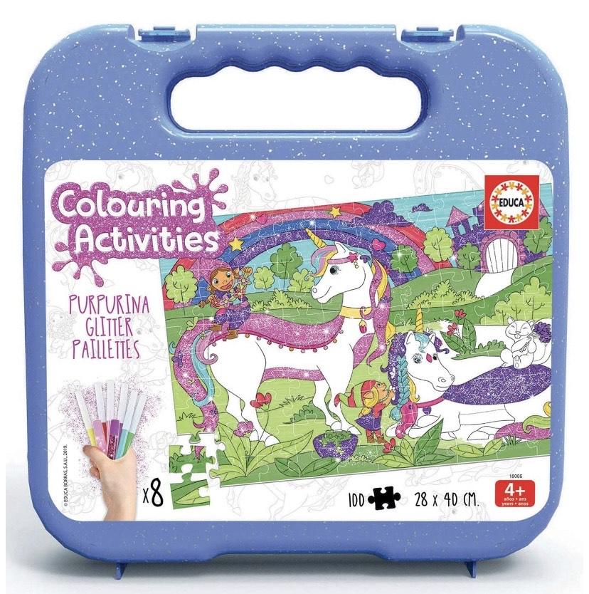 Puzzle de 100 Piezas para Colorear Unicornios Glitter, con Purpurina