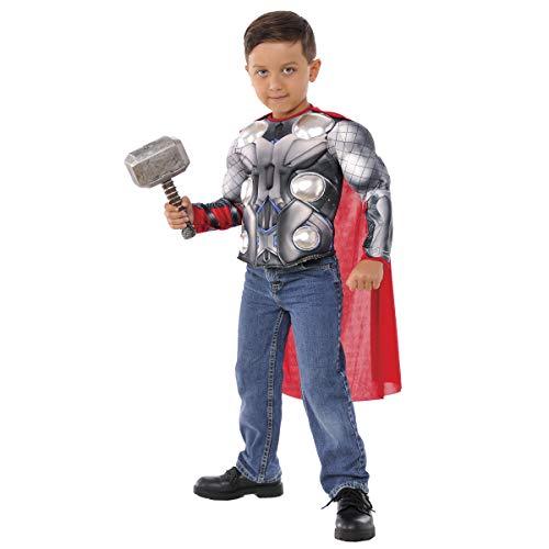 Avengers - Disfraz de Thor para niños, pecho musculoso y martillo, infantil 5-7 años