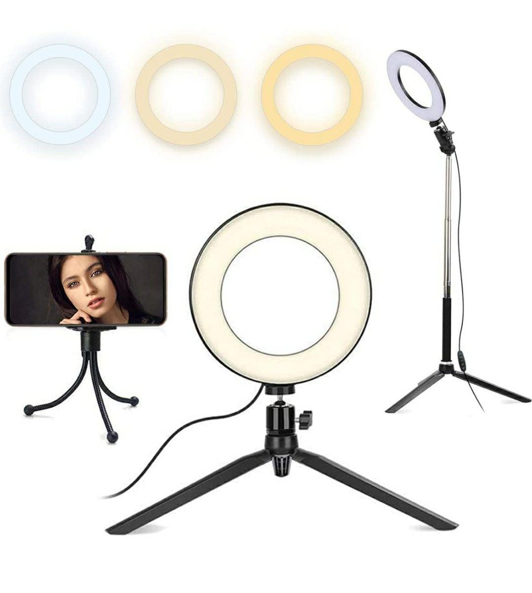 Queta Anillo LED de 8 Pulgadas LED Anillo Luz, con Soporte de Trípode Extensible