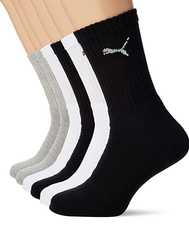 6 pares calcetines puma tallas 35-38 y 39-42. A menos de dos euros el par. Hay talla 43-46 pero ya son 14€