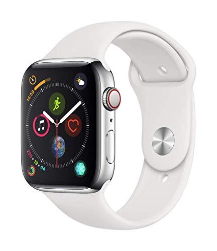 REACONDICIONADO, COMO NUEVO - Apple Watch Series 4 (GPS + Cellular) con caja de 40 mm de acero inoxidable y correa deportiva blanca