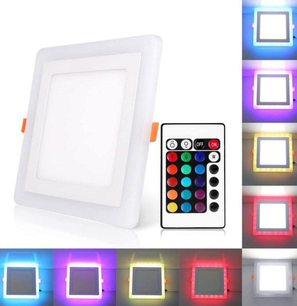 Plafón Cuadrado 3 Modos de iluminación 18W Blanco y RGB, Incluye transformador (Precio Mínimo)
