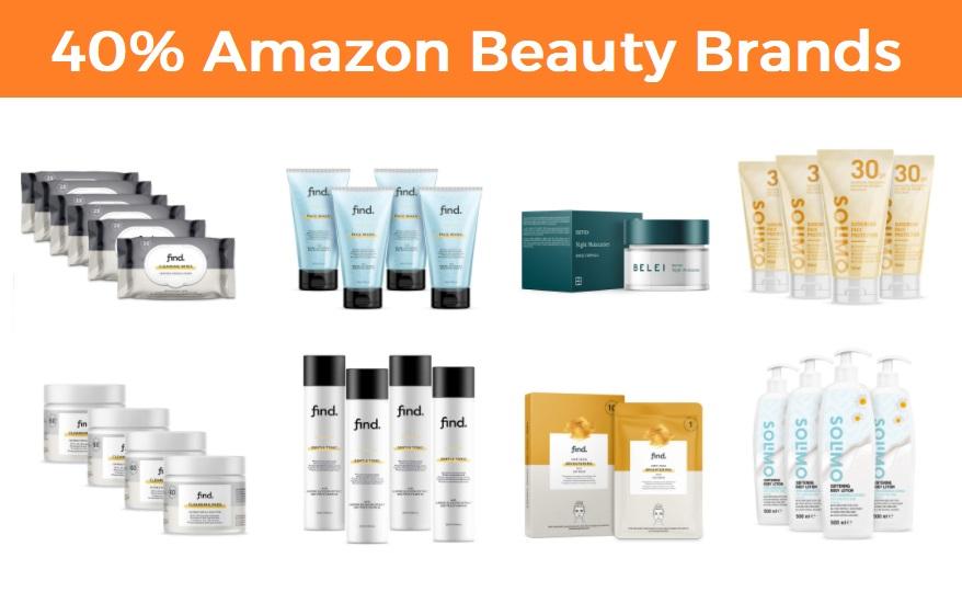 40% al comprar productos de belleza de marcas exclusivas Amazon - FIND