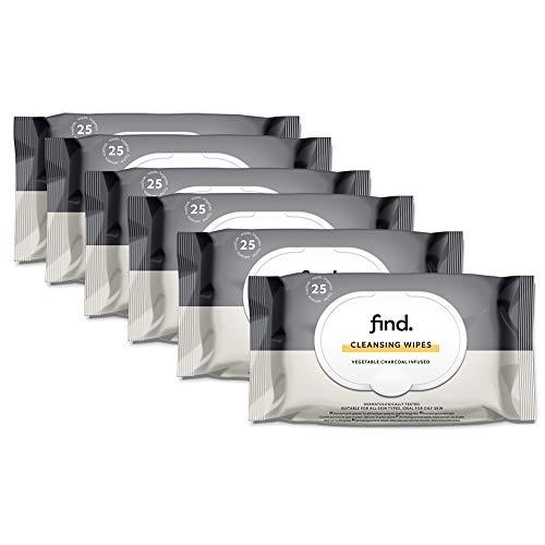 FIND - Toallitas desmaquilladoras con Carbón - 6x25 toallitas(150 toallitas)