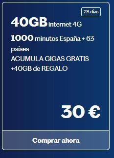 Lebara 40gb + 40gb gratis, más llamadas