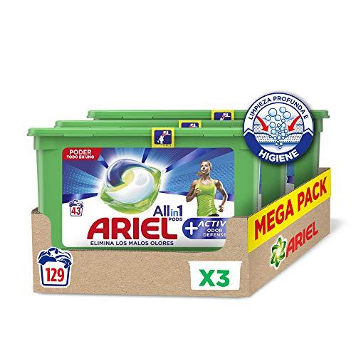 Ariel Allin1 Pods Active - Detergente en cápsulas para la lavadora - 129 lavados/unidades (3 x 43)